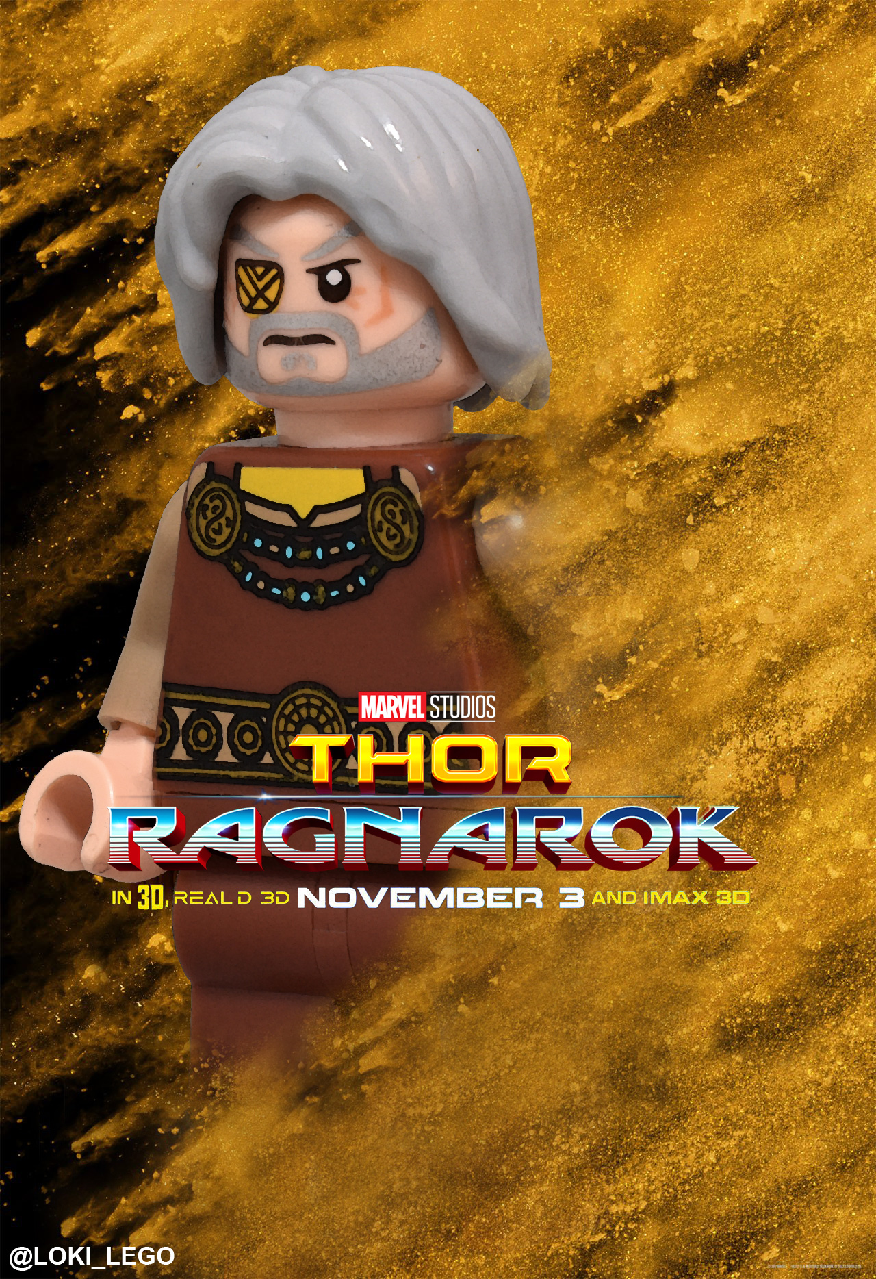 eight thor ragnarok character posters recreated in lego