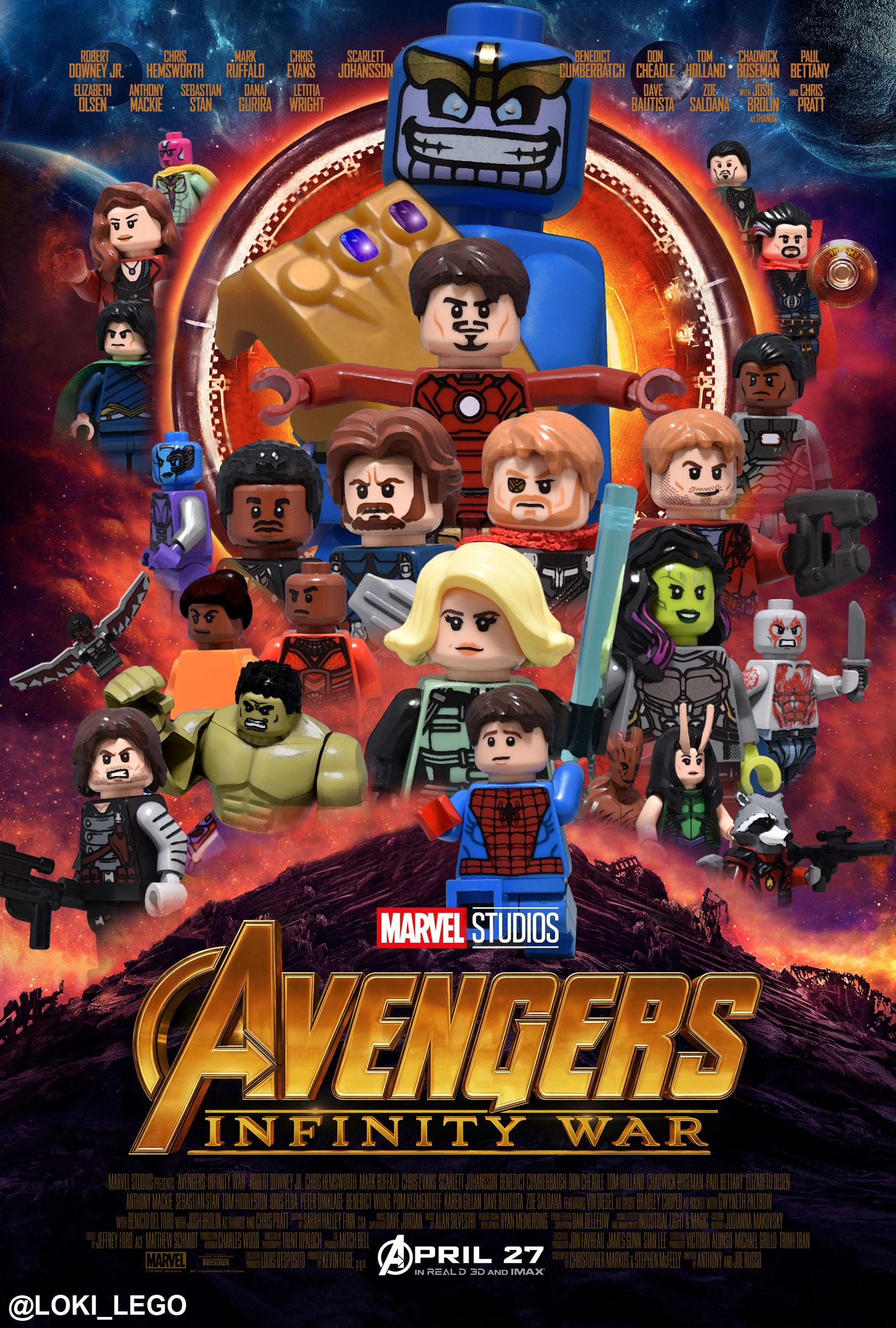 Avengers infinity war poster recreated in lego future - Film lego marvel ...