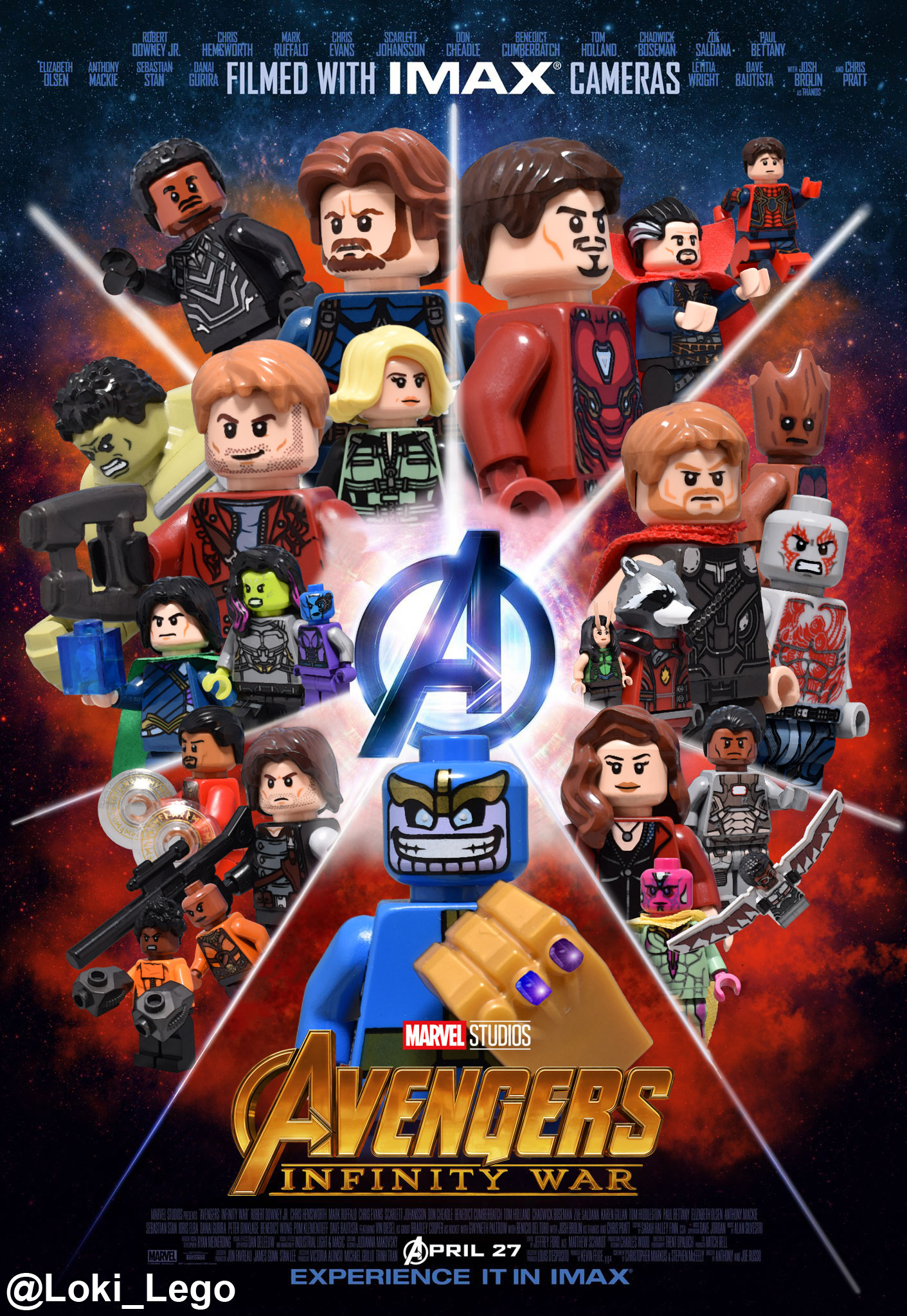 Avengers infinity war imax poster recreated in lego - Film lego marvel ...